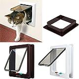 Nueva puerta de solapa de marco blanco para mascota gato perro pequeño con seguro de 4 vías 3 tamaños chica mediana grande
