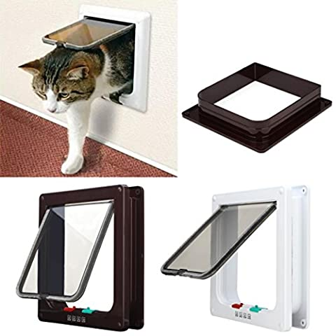 New White Frame 4 Way Locking lockable Pet Cat Small Dog Flap Door S M L 3 Sizes (White, L)