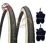 Kit 2Zwei Reifen BN + zwei Luftkammern Fahrrad Zyklus Fahrrad Holland 26x 1–3/8weiß schwarz