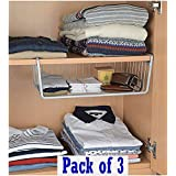 "Go Hooked ViMe® Powder Coated Iron Multipurpose Under Cabinet/Undershelf Organiser Basket Storage Rack (16"", Silver) - Pack o"