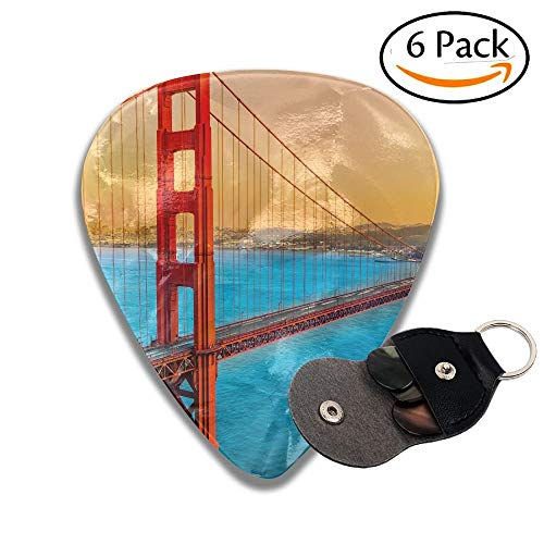 Golden Gate Bridge In San Francisco California Usa Colorful Celluloid Guitar Picks Plectrums For Guitar Bass 6 Pack.96mm