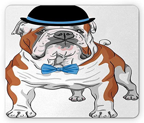 WYICPLO English Bulldog Mouse Pad, Pure Breed Hipster Dog with Vintage Hat and Bow Tie Sketch Animal, Standard Size Rectangle Non-Slip Rubber Mousepad, Brown Black Blue -
