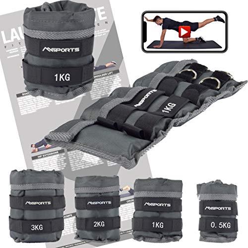 MSPORTS Gewichtsmanschetten Professional -einstellbar- Paar von 0,5-3 kg Fuß- und Hand-Gewichte inkl. Übungsposter + Work Out App GRATIS (1,0 kg - Paar)