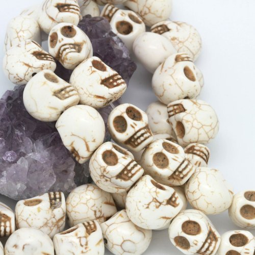 Howlite Turquoise Loose Beads Carved Skulls Spacer 13X18mm White by BHbeads