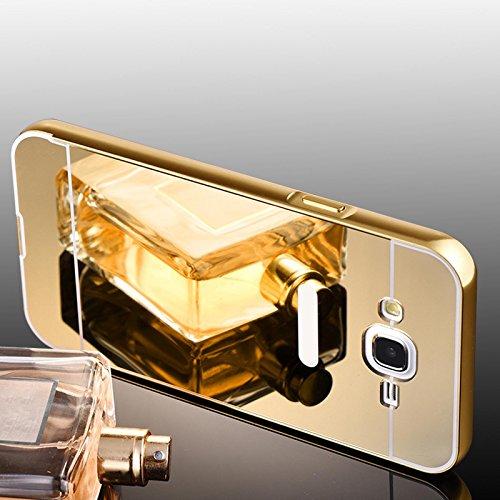 Samsung Galaxy E7 Hülle, Handyhülle [Metall Bumper Alu Case 2 in 1] Schutzhülle für Samsung Galaxy E7 Back Cover Spiegel Rückschale [Gold]