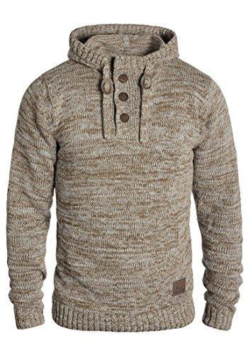 SOLID Philon Herren Kapuzenpullover Strickhoodie Strickpullover aus 100% Baumwolle Meliert, Größe:M, Farbe:Dune (5409)
