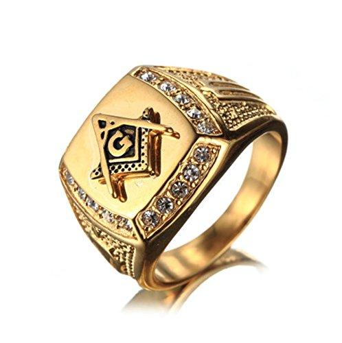 Bishilin Herren Ringe Edelstahl Weiß Kristall Zirkonia Masonic Freimaurer Freundschaftsring Männer Ring Gold Größe 70 (22.3)