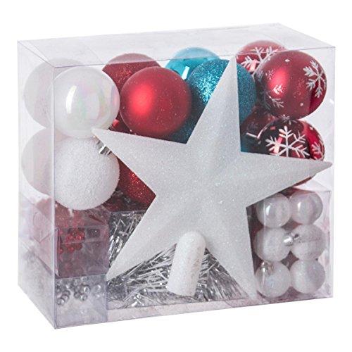 Lot déco Noël - Kit 44 pièces pour décoration sapin : Guirlandes, Boules et Cimier - Thème couleur : Blanc, Rouge Bleu Turquoise et Gris Argent