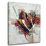 Raybre Art ® 50 x 60 cm Ölgemälde auf Leinwand ohne Rahmen - 100% Handgemaltes Gemälde Moderne Abstrakte Linie Graffiti Wärme Farbe Wandbilder Schlafzimmer Bilder für Hausdekor Wandkunst