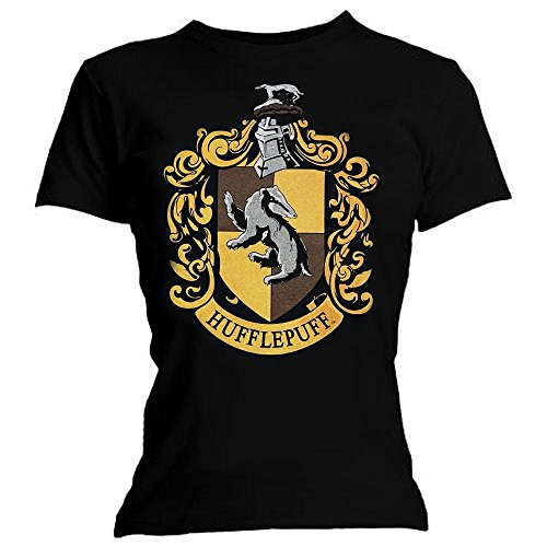 Harry Potter Womens Graphic Printed Assorted T- Shirt Hufflepuff - Black -Size - Small