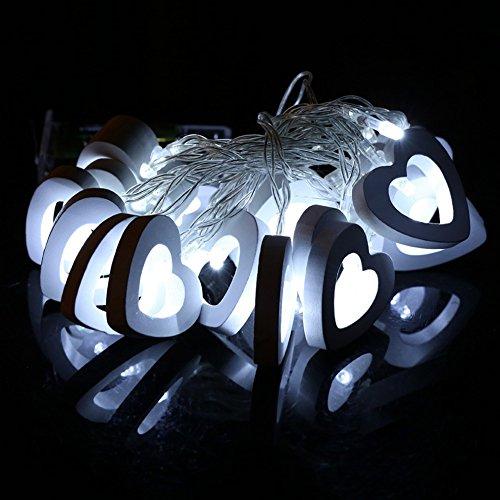 Led Décoration, Morbuy Guirlande LED Wooden Heart Décoration Chambre Noël Arbre Sapin Jardin Mariage Terrasse Pelouse Prise (Est blanc)