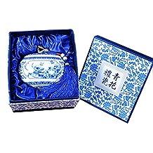 QYW Frasco de Porcelana Azul Y Blanco de Jingdezhen, Frasco de Porcelana de CeráMica Vintage