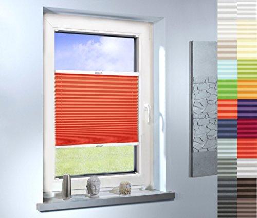 Plissee nach Maß, hochqualitative Wertarbeit, für Fenster und Türen, alle Größen und mehr als 20 Farben verfügbar, Maßanfertigung (Farbe: Orange, Höhe: 121-130cm, Breite: 51-60cm)