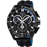 Pulsar Men's 47mm Black Calfskin Band Steel Case Hardlex Crystal Quartz Chronograph Watch PX7009X1