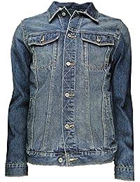 SoulStar Mens Denim 3 Style Jackets Hudson Stonewash Leonard Faded Wash Matrix Vintage Blue Iconic Coat