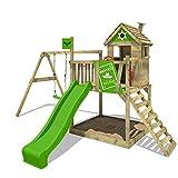 Klettergerüst mit Stelzenhaus, Schaukel, Sandkasten & Rutsche FATMOOSE Spielturm RockyRanch Roll XXL*