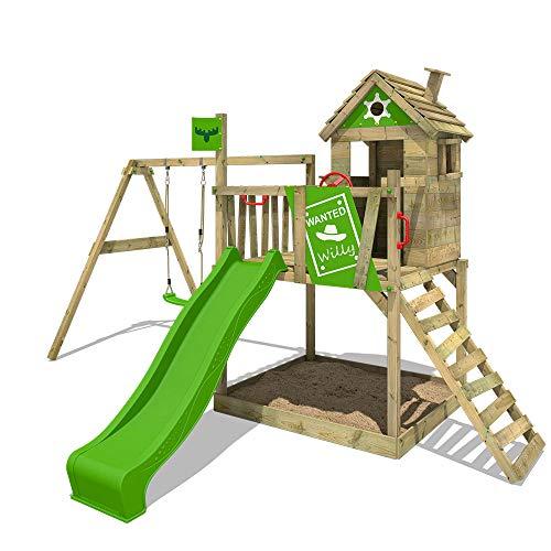 FATMOOSE Stelzenhaus RockyRanch Roll XXL Kletterturm für Kinder Spielturm mit Rutsche, Schaukel,...