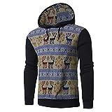 SEWORLD Weihnachten Christmas Herren Männer Herbst Winter Drucken Hoodie mit Kapuze Sweatshirt Weihnachten Tops Jacke Mantel Outwear(X1-schwarz,EU-48/CN-M)