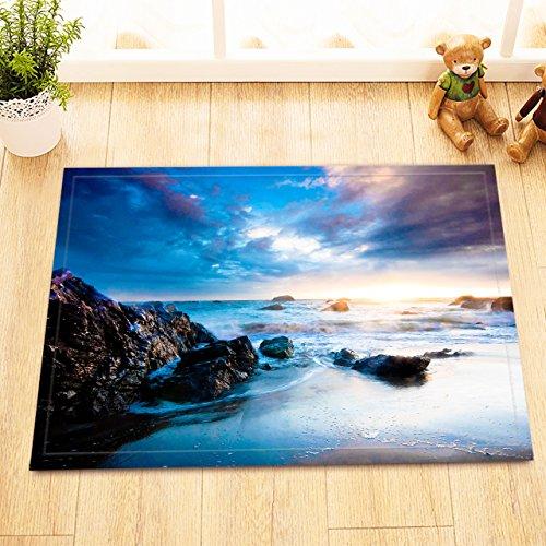Riff,Strand,Steine,Aqua,Schwarz_waschbare Badematte Türmatte Wohnaccessoire 60 x 40 cm (Duschvorhang Schwarz Und Aqua)