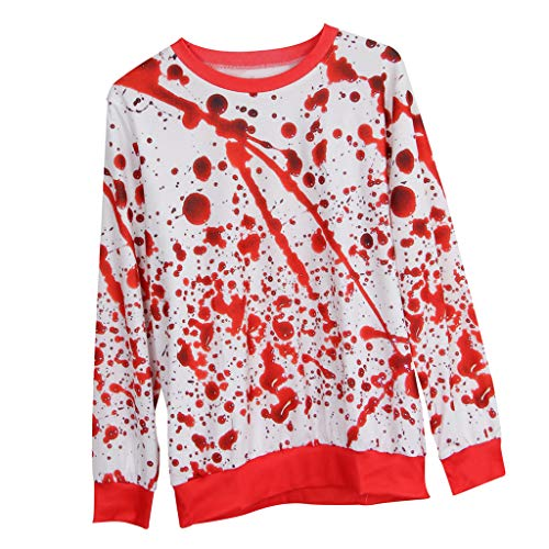 D DOLITY Horror Bloody 3D Graphic Print Hoodie Sweatsuit Halloween Cosplay Party Costume Shows  XL