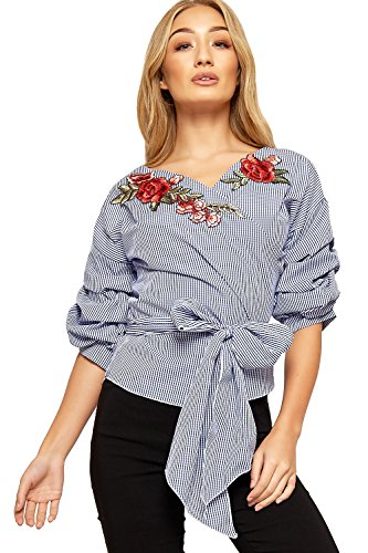 WEARALL Femmes Vichy Chèque Chemise Haut Dames Ruché Manche Floral Rose Cache-Cœur Cravate - 36-42 Bleu Marin