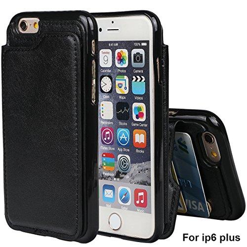 """xhorizon TM Housse de portefeuille antidéflagrant durable, étui en cuir de luxe Folio porte-monnaie avec fente de soutien de carte de crédit pour iPhone 6 Plus / iPhone 6S Plus [5.5""""] avec 9H film de  Noir"""