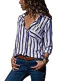 AitosuLa Bluse Gestreift Damen Hemd Oberteile V-Ausschnitt Lose Casual Chiffon Langarm T-Shirt Top Tunika Elegant Langarmshirt Z Blau Weiß M