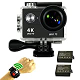 "SmilyDirect® Action Cam WIFI 4K FHD Sport Action Camera Impermeabile 1080P 170 ° Grandangolare 2.0"" Schermo LCD Impermeabile con 2 batterie e kit accessory inclusi Remote Controller"
