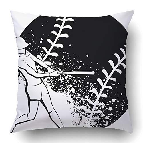 RAINNY Throw Pillow Covers Bat Girl Softball Batter Female Athlete Ball Competitive Equipment Game Helmet Polyester Square Hidden Zipper Decorative Pillowcase 20x20 inch