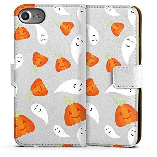 Apple iPhone 4 Silikon Hülle Case Schutzhülle Kürbis und Gespenster Halloween Muster Sideflip Tasche weiß