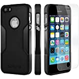 iPhone se, para iPhone 5S 5 se (Negro) saharacase® - Kit incluido con [Protector de pantalla de cristal templado] Slim Fit resistente protección antigolpes carcasa rígida