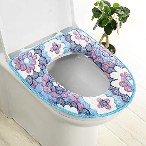 Trap-o-ring (BAOZIV587 2er-Pack WC-Sitzkissen Haushalt Toilettendeckel Aufkleber WC-Trap Wasserfeste Universal-Toilettendeckel Sommer, Blau Großer Blumenkleber)