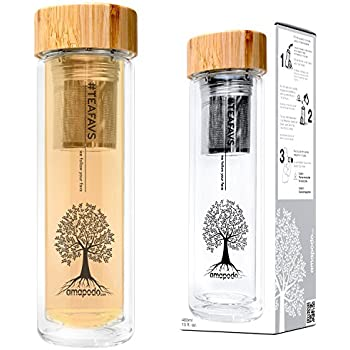 amapodo Teekanne Edelstahl Tee-Sieb - Teebereiter 400ml BPA Frei Bambus-Deckel