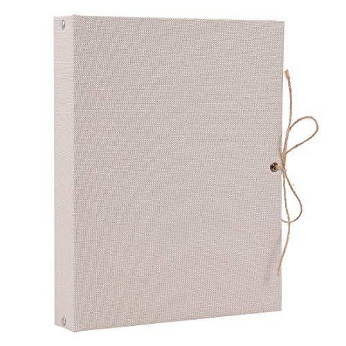 ELFGUS Fotoalbum zum Selbstgestalten, Kraft-Seiten Fotoalben Scrapbook Groß zum Einkleben, Leinen Fotobuch Gästebuch Stammbuch mit Geschenkbox, Elfenbeinfarben