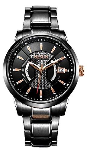 Nesun Militär Automatik Mechanische Analog Uhren für Männer Sport Retro Stilvolle Edelstahl Armbanduhr (Rose Gold-Schwarz) (Schweizer Rose Gold Watch)