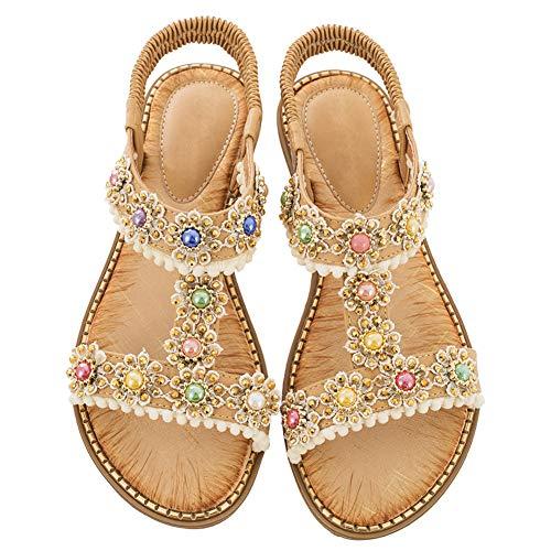 Flache-Sandalen -Damen Open-Toe Strass Sport-Thongs Schuhe Gold 40.5 EU Elegante Gold Open Toe