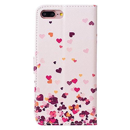"""MOONCASE iPhone 7 Plus Coque, [Live Your Dream] Modèle Housse Pochette en Cuir Etui à rabat portefeuille [Porte-cartes] TPU Case avec Béquille pour Apple iPhone 7 Plus 5.5"""" Heart-shaped"""