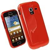 igadgitz U1817 Custodia TPU Gel per Samsung Galaxy Ace 2 I8160 Case Cover Rigida con Protettore Schermo - Rosso