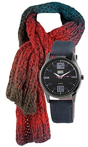 Geschenk Set, Uhr und Schal für Männer - Herren-Uhr mit Textielarmband, weicher Winter- Herren- Unisex Schal grob gestrickt mit angenehmer Trageeigenschaft