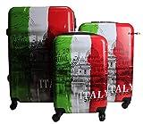 R.Leone Valigia da 1 pezzo Fino a Set 3 Trolley Rigido grande, medio e bagaglio a mano 4 ruote in Policarbonato Italia (Set 3 S+M+L)