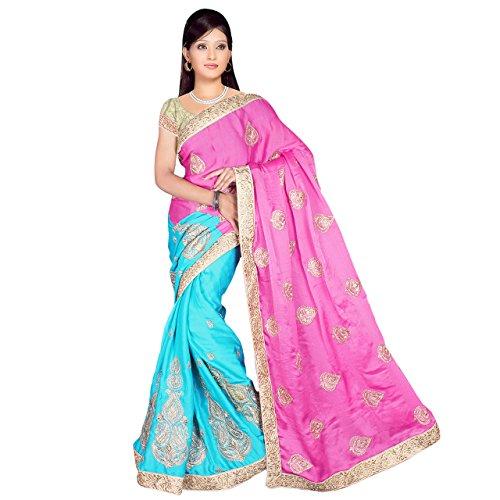 Shree Viscose Saree (Sm1042_Pink Sky Blue)