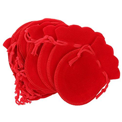Generic Samt Kordelzug, Samtbeutel, Schmuckbeutel, Samtsäckchen, Geschenksäckchen, Set of 20pcs, 7 x 9cm - Rot, 7 x 9cm