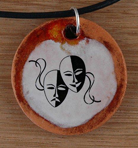 Echtes Kunsthandwerk: Schöner Keramik Anhänger Fasching; Venedig, Maskenball, Narr, Kostüm, Maskenkostüm Maskenspiel, Maskerade, Mummenschanz