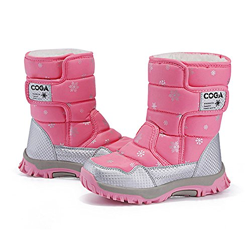 Eagsouni Bottes de Neige Fille Chaussures Hivernales Bottes et bottines à doublure chaude fille Rose