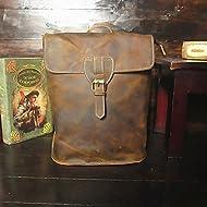 Vintage Original neutre en cuir hommes et femmes épaule Sac à dos brun foncé,