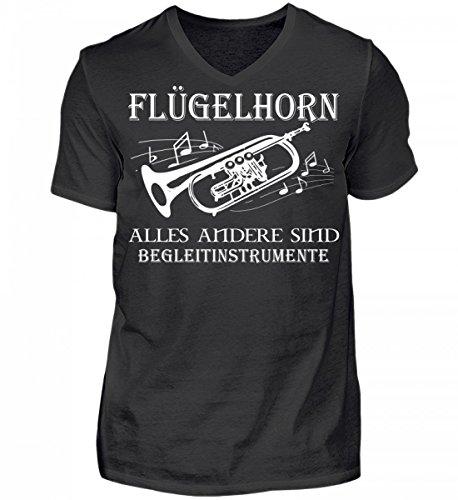 Hochwertiges Herren V-Neck Shirt - Flügelhorn Shirt · Musiker · Blasmusik · Musik · Musikinstrument · Musikverein · Hobby · Lustig · Spruch · Pulli · Jacke · Hoodie · T-Shirt · Geschenk