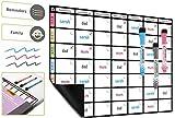 A3 Magnetische Abwischbare Magnettafel, Familienplaner für den Kühlschrank; Aufgabenplaner von Plan Smart; BONUS: 3 Qualitäts-Marker mit Radierern