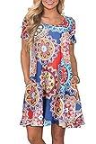 Sommerkleid Kurze Ärmel Kleider Damen Rundhals Strandkleider Einfarbig A-Linie Kleid Boho Knielang Kleid L-Marine, XX-Large
