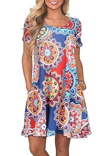 Sommerkleid Kurze Ärmel Kleider Damen Rundhals Strandkleider Einfarbig A-Linie Kleid Boho Knielang Kleid L-Marine, X-Large