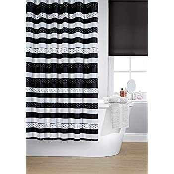 Vibrant Jet Black And White Polyester Shower Curtain Including 12 Black  Shower Curtain Rings By Waterline
